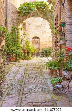 stock photo romantic street with stone arch decorated with plants spello umbria italy 411875077 - Каталог — Фотообои «Балконы, арки»