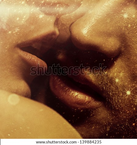 Romantic style photo of young lover's lips