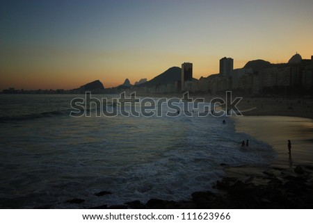 Romantic sunset from Copacabana beach in spectacular capital Rio de Janeiro, Brazil, south America.
