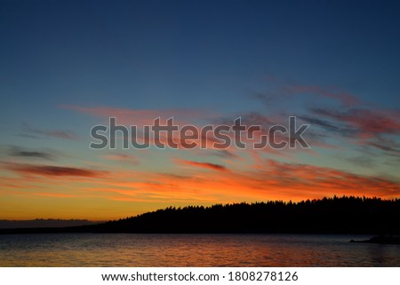 Romantic sunset in pink tones on lake Keret, Northern Karelia, Russia Stock fotó ©
