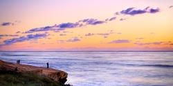 Romantic Sunset Panorama at Sunset Cliffs San Diego California USA