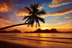 Romantic sunset with views of the islands.