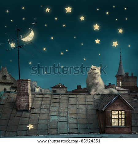 romantic surreal artwork. cat sitting on roof against night background with moon and stars. see more on my page