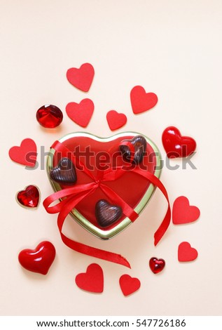 Romantic Symbols Of Hearts And Chocolate Candy Valentines Day Ez