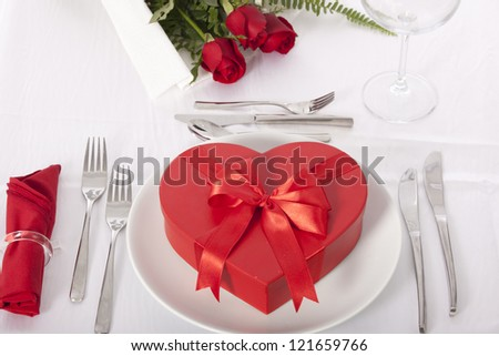 Romantic Table Setting With Rose And Chocolate Box Valentines Day ...