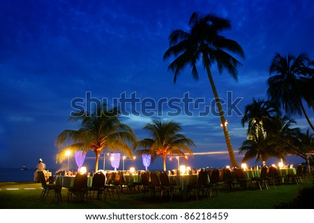 romantic twilight dinner near beach