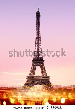 romantic twilight in Paris, with the Eiffel Tower