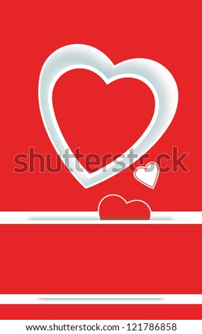 Romantic Valentine's Day card with a striking red and white paper applique heart over a rich red background with copyspace and a smaller heart slipping through a slit in the paper - stock photo