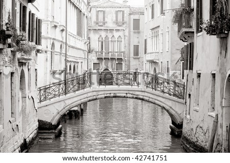 Romantic Venetian bridge in black and white