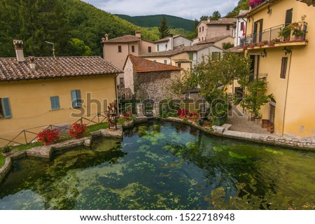 "Romantic view of romantic stone town in the heart of Umbria region, named ""village of streams"" or ""little Venice"" for the torrent and waterfalls that cross the historical center"