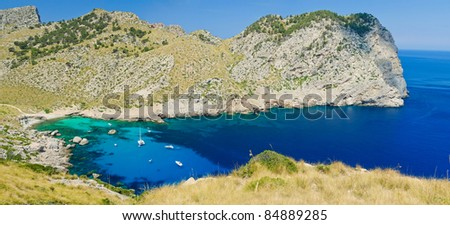 Romantic view of the bay Formentor at Majorca, Spain. Panorama