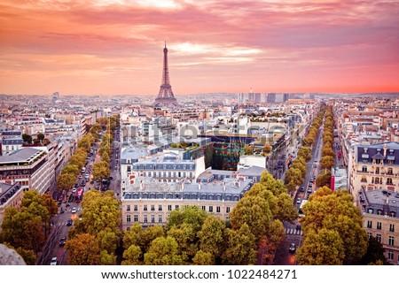 Romantic view on Paris from Arc de Triumph. France. Popular European travel destination, Paris is city of love and romance. #1022484271