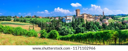 Romantic vine route with medieval castles in Italy. Emiglia Romana , Italy