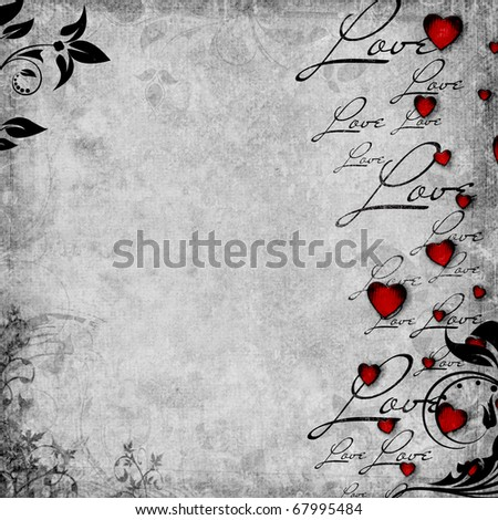 Romantic  vintage background with red hearts and text love (1 of set) - stock photo