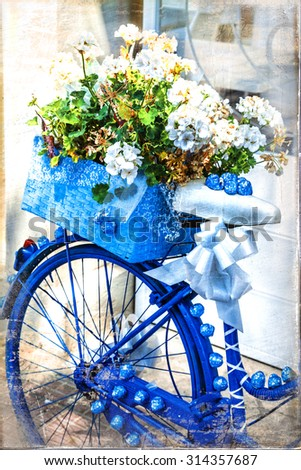 Romantic vintage cards - bike with flowers