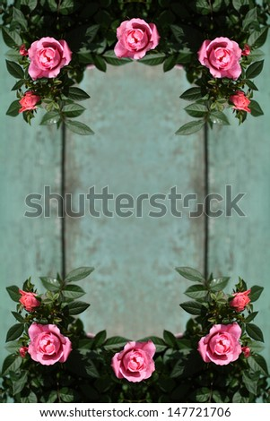 Romantic vintage roses frame background