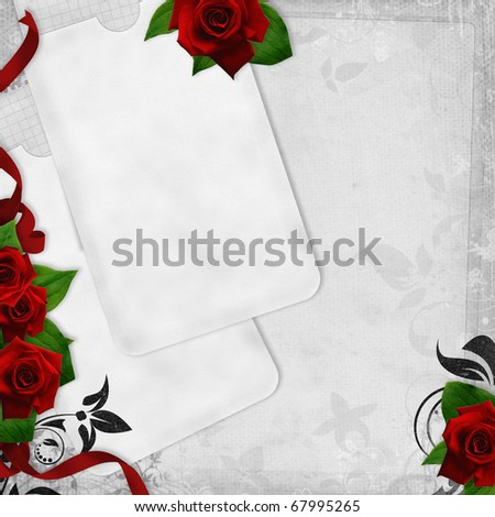 stock photo Romantic vintage wedding card on white background with red