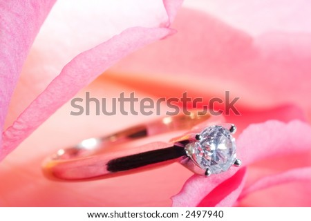 Romantic way to present a diamond ring inside beautiful rose on Valentine day.