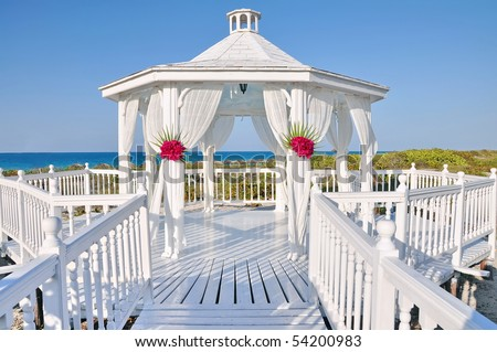 Romantic wedding gazebo near the ocean in the Caribbean, Cuba