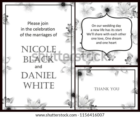 Romantic wedding invitation card suite. Wedding, marriage, bridal, birthday, Valentine's day.  #1156416007