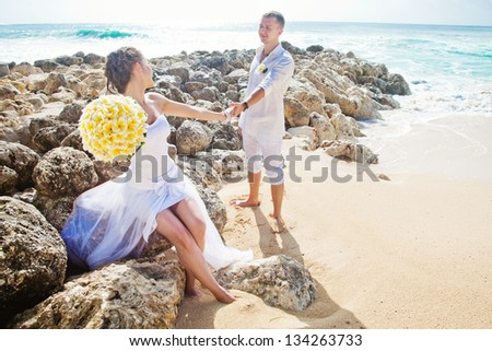 romantic wedding on the beach, bali