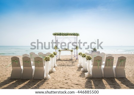 Romantic Wedding setting on the beach.