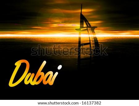Romantic Yellow Sunset in Dubai With Burj Al Arab Silhouette Hotel Illustration - stock photo