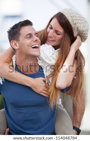 Romantic Young Couple laughing in the city of Los Angeles, California