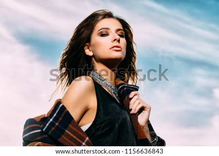 Romantic young woman posing in nature. Outdoor fashion. Beauty, fashion.  #1156636843