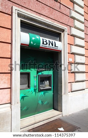 ROME - APRIL 9: BNP Paribas branch on April 9, 2012 in Rome, Italy. Formed through merger in 2000, the bank is currently largest worldwide by assets ($2.68 trillion USD).