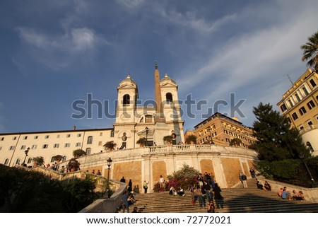 ROME - APRIL 20: Piazza di Spagna (Spanish Steps) and church Trinita dei Monti  in Rome on April 20, 2010. The church and its surrounding area are the property of the French State.