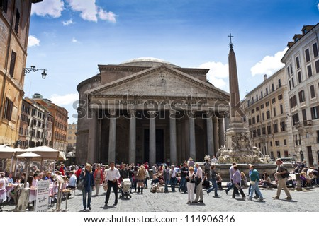 ROME - APRIL 25: The Pantheon on April 25, 2012 in Rome, Italy. Pantheon is ancient temple build in 2nd century AD, located on Piazza della Rotonda, one of most popular tourist sights in Rome.