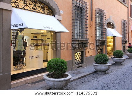 ROME - APRIL 9: Versace store on April 9, 2012 in Rome, Italy. Versace is among top 10 most valuable luxury brands in the world (2011) and has only 82 prestigious boutiques worldwide.