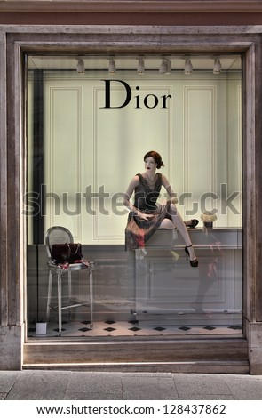 ROME - APRIL 10: Window view of Dior store on April 10, 2012 in Rome, Italy. The fashion company was founded in 1946. It had 4.2 billion EUR of operating income in 2010.