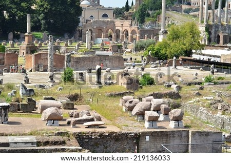 ROME - AUGUST 27, 2014: Ruins of Ancient Rome, Rome, Italy