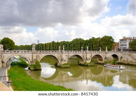 Rome: Banks of the Tiber with ship