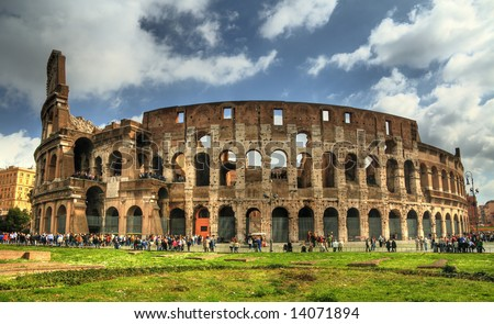 Rome colosseum with tourists. Pseudo HDR image created from a single RAW file