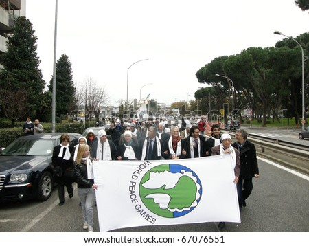 ROME - DEC 12:World Peace Games,11 and 12 December at the Atlantico Live there were games, lively debate, concerts,  today, there was the march of peace. December 12, 2010, Rome, Italy