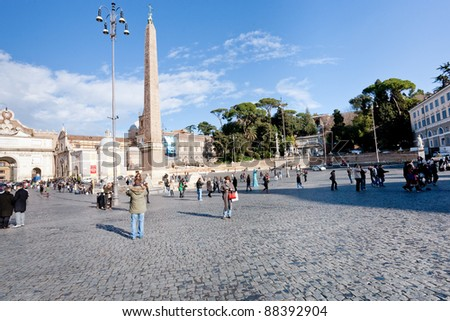 ROME - DECEMBER 18: Piazza del Popolo in Rome, Italy on December 18, 2010. The Piazza is a large urban square in Rome (13,500 m2 approx, about 150 m by 90 m)
