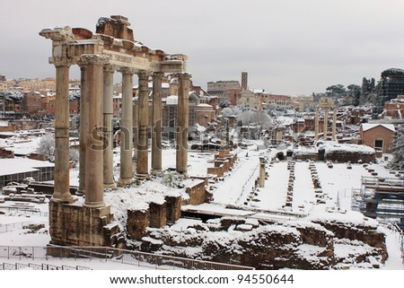 ROME - FEB 4: Roman Forum after the heavy snowfall on February 4, 2012 in Rome. The last snowfall in Rome was in 1985