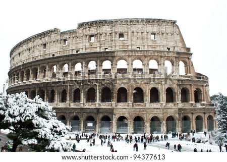 ROME - FEBRUARY 04: Amazing view of the Coliseum with snow on February 4, 2012. Snowfalls in Rome are very rare, the last similar snowfall was in 1985.