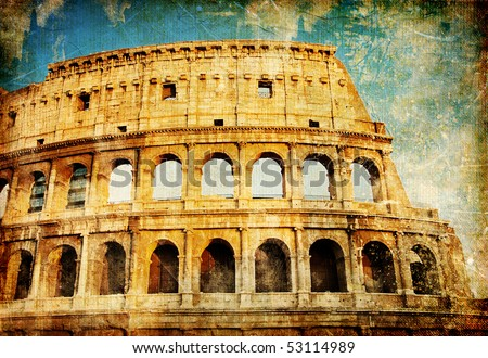 Rome - great italian landmarks vintage series - stock photo