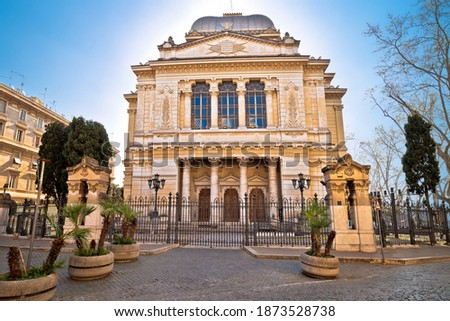 Rome. Great Synagogue of Rome facade view, Jewish temple in eternal city, capital of Italy Photo stock ©