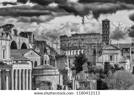 Rome historic center antiquities and monuments in black and white engraving or etching style #1180412113