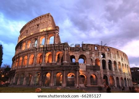 Rome: illuminated Colosseum at twilight