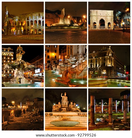 Rome in the night. Di Trevi fountain, Coloseum, Triumphal Arch of Constantine. Collage