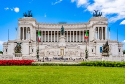 Rome, Italy: Altar of the Fatherland (Altare della patria) monument to Victor Emmanuel II the first king of Italy in Venice Square (Piazza Venezia).