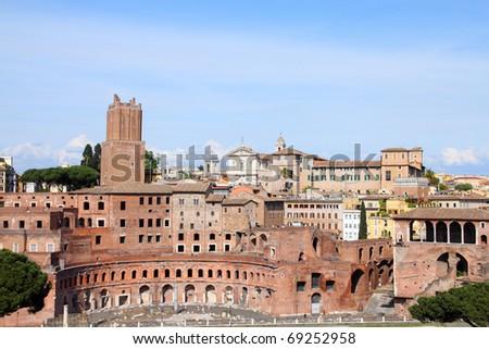 Rome, Italy. Ancient Roman ruins in Foro Traiano (Trajan's Forum).
