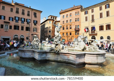 ROME, ITALY - APRIL 28: Fountain of Neptune, Rome in Piazza Navona in Rome, Italy on April 28 2011.Piazza Navona is highly significant example of Baroque Roman architecture and art