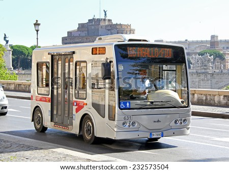 ROME, ITALY - AUGUST 1, 2014: Small city bus Tecnobus Gulliver at the city street.